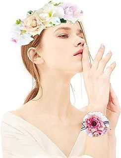Joeyer Mujer Niñas Corona Floral Ajustable Tocado de Flor para Apoyos de La Foto de Fiesta de Boda