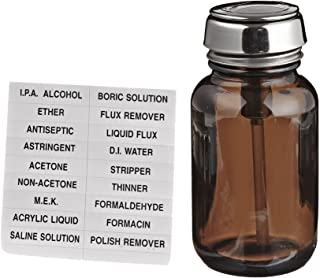 MENDA 35315 Amber Glass Dispensing Bottle with Stainless Steel One-Touch Pump, 4oz Capacity
