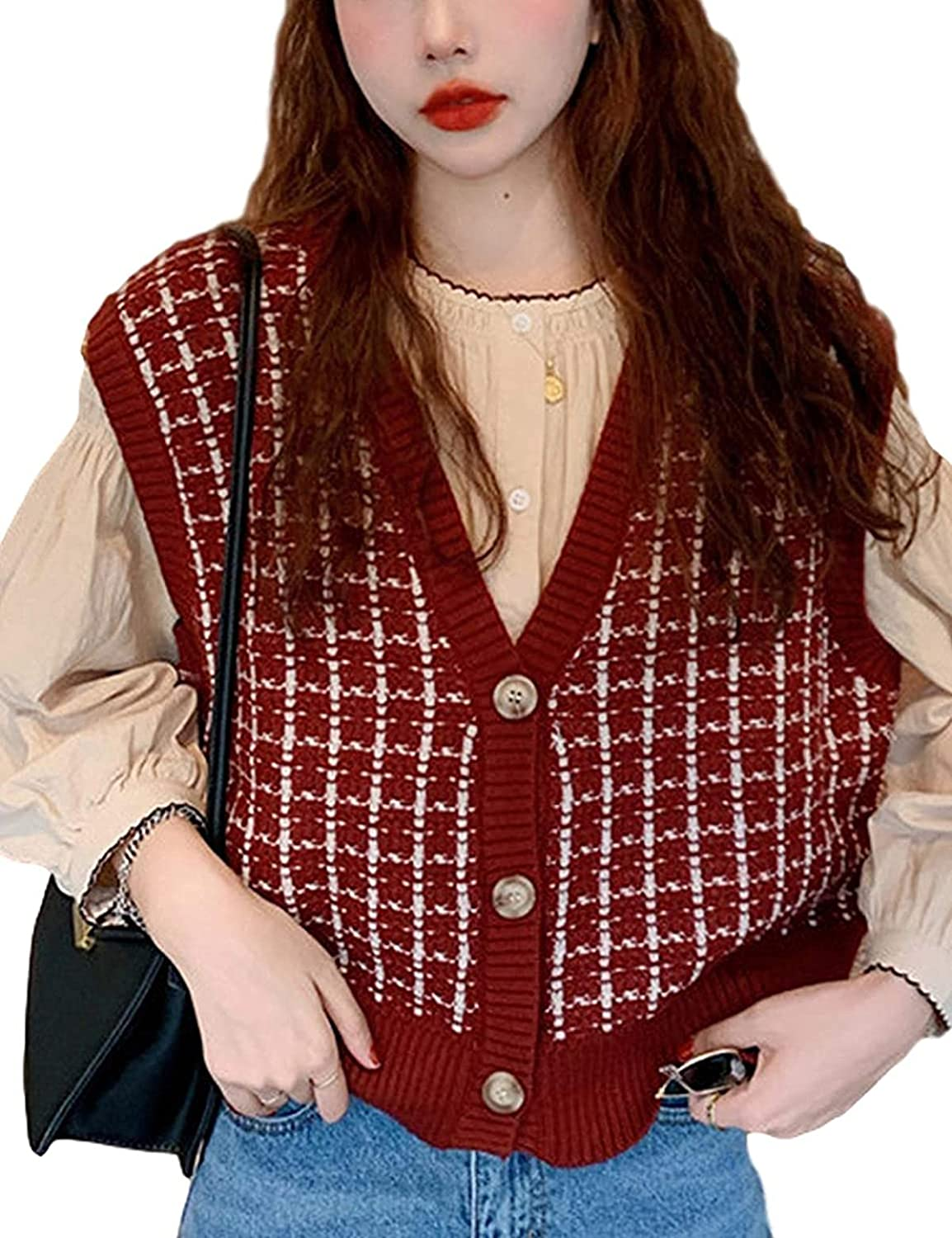 AIberx Women's Casual Button Down Sleeveless Knitted V Neck Color Block Sweater Vest