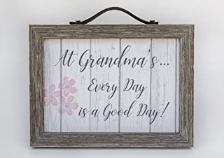 """The Grandparent Gift Co. Grand Expressions - 5"""" x 7"""" Distressed Wooden Frame with Leather Hanger/Accent - Farmhouse Decor Inspired Sign for Grandmothers - """"At Grandma's.Every Day is a Good Day!"""" by"""