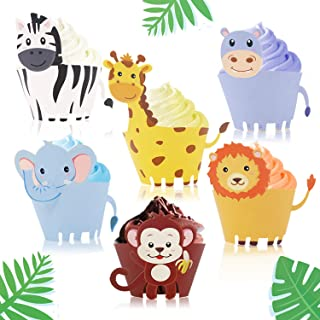 Jungle Safari Animal Cupcake Wrapper Zoo Party Supplies Baby Shower Birthday Decorations