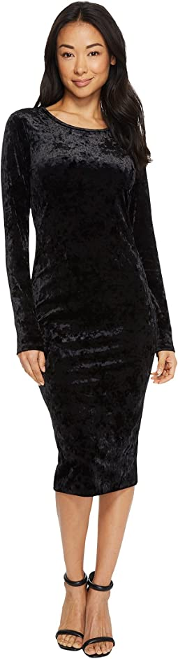 MICHAEL Michael Kors - Panne Velvet Crew Neck Long Sleeve Dress