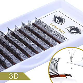 GEMERRY Gap Eyelash Extensions C Curl Easy Fan Volume Lashes 0.07mm Mixed Tray 8-14mm Rapid Blooming Silk Individual Mega Clusters Lash Extensions (3D-C-0.07mm-Mix)