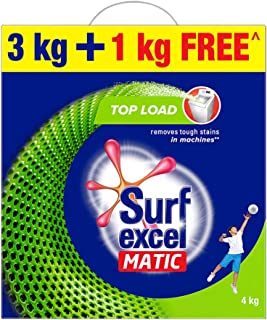 Surf Excel Matic Top Load Detergent Washing Powder, Specially Designed For Tough Stain Removal In Top Load Machines, 3+1 K...