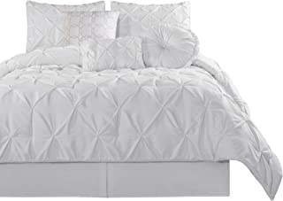 Chezmoi Collection Sydney 7 Piece Pintuck Comforter Set, Queen, White