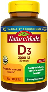 Nature Made Vitamin D3 2000 IU (50 mcg) Tablets, 400 Count for Bone Health