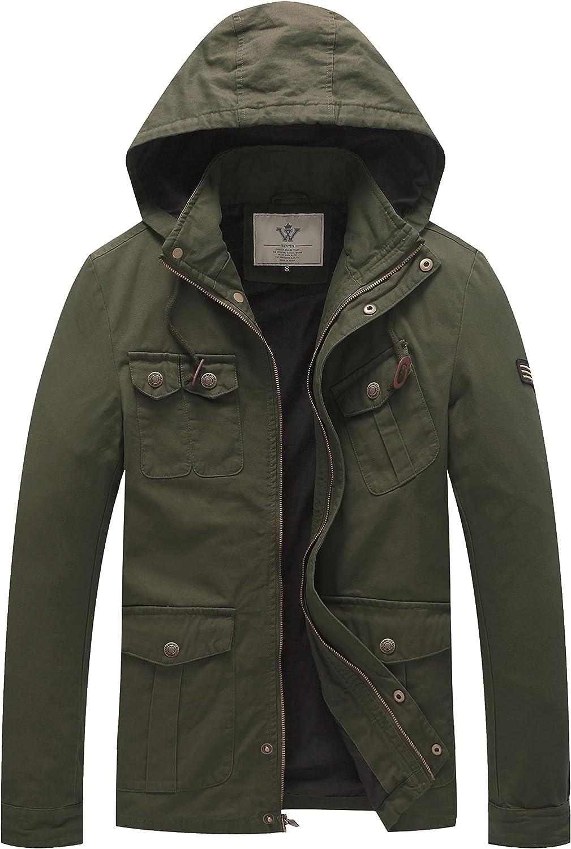 WenVen Men's Casual Lightweight Windbreaker Cotton Hooded Military Jackets