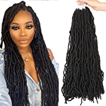 7 Packs Nu Locs Crochet Hair 22 Inches Pre-Loop Goddess Locs Crochet Braids Wavy Soft Faux Locs Croceht Hair African Roots Dreadlocks Hair 100% Premium Fiber Synthetic Hair Extensions by Lohot (1B)