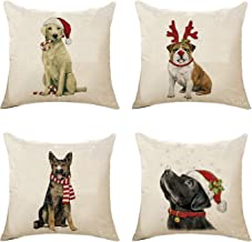 Decorative Throw Pillow Covers Set of 4 Cotton Linen Cushion Covers 18 x 18 Inch (Style-F)