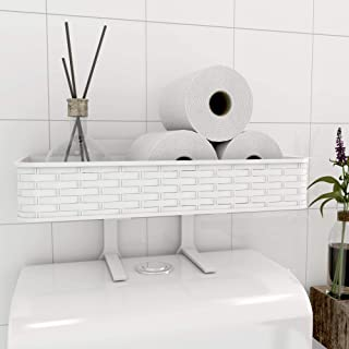 Nourimex Over The Toilet Organizer Bathroom Storage Shelf Bath Space Tray Toilet Paper Holder Organization Standing Basket Wall Mounted Shelves Top Shower Caddy Cabinet Bathroom Decor Stand Box_White
