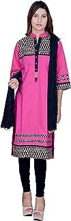 Rama Women's Cotton Suit Set Pink Kurta and Black Legging and Dupatta