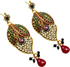 Silvestoo Jaipur Emerald, Ruby (Created) Kundan Meena Gemstone Yellow Gold Plated Earring PG-109528