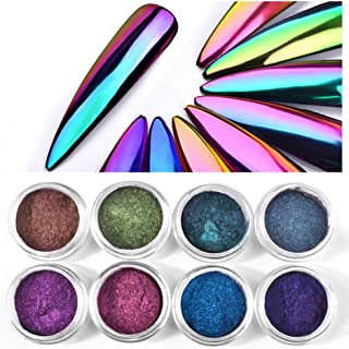 Shogpon 8 Colours Nail Glitter Powder Super Shining Mirror Chrome Effect Nail Art Decoration Manicure Pigment - Optical Chameleon Magic Mirror Powder