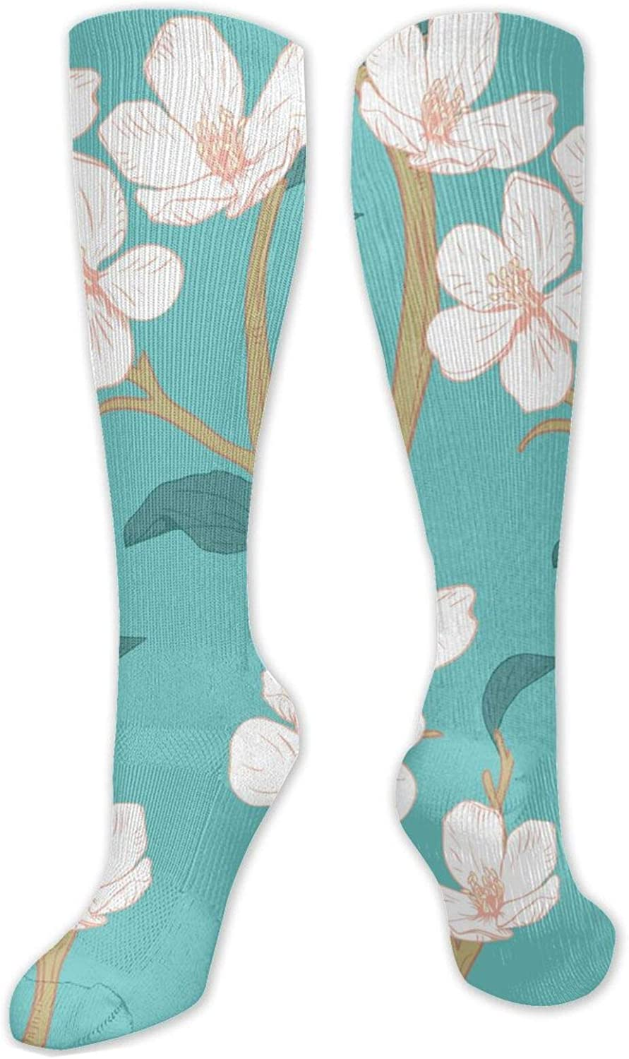 Blooming Cherry Blossoms Knee High Socks Leg Warmer Dresses Long Boot Stockings For Womens Cosplay Daily Wear