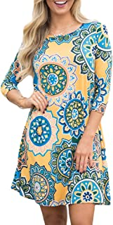 For G and PL Women 3/4 Sleeve Floral Print T Shirt Dress with Pocket