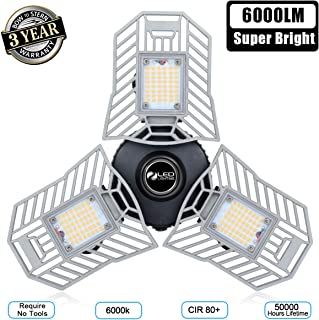 Garage Light 6000 Lm Deformable LED Garage Ceiling Lights 60W CRI 80 Led Shop Lights for Garage 3 Adjustable Panels Utility Led Garage Lighting Workshop Light(60W Standard)