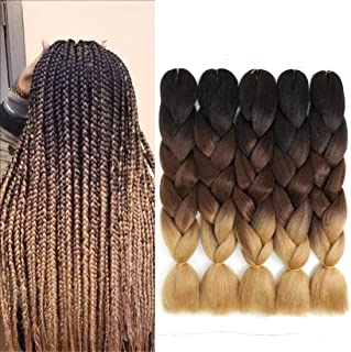 Aosunky Braiding Hair Synthetic Kanekalon Fiber Braiding Hair Ombre Jumbo Braids Hair Extensions(5PCS,24'') (Black/Dark Brown/Light Brown)