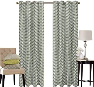 hengshu Geometric Patio Door Curtains for Bedroom Abstract Rhombuses and Stripes Monochrome Composition Vintage Inspirations Thermal Insulated Noise Reducing W52 x L45 Inch Pale Sage Green