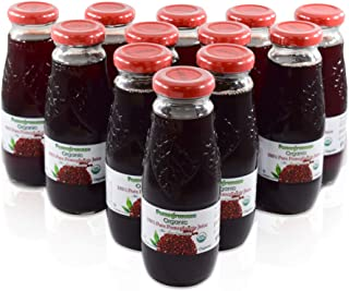 100% Pomegranate Juice - 12 Pack ,6.76Fl Oz - USDA Organic Certified - Glass Bottle - No Sugar Added - No P...