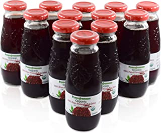 100% Pomegranate Juice - 12 Pack ,6.76Fl Oz - USDA Organic Certified - Glass Bottle - No Sugar Added - No Preservatives - Squeezed From Fresh Pomegranates