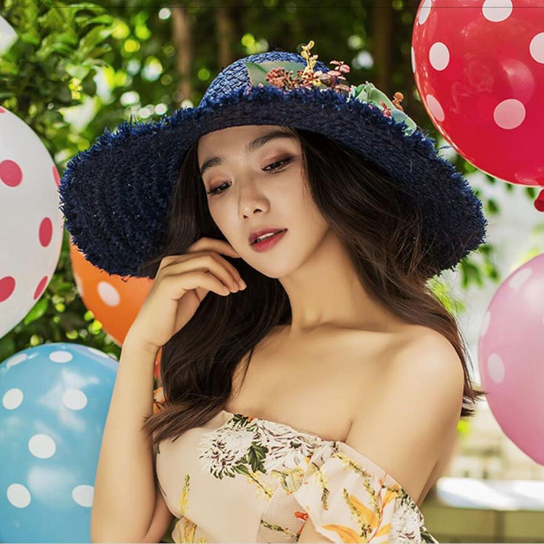Female Summer Straw Hat Seaside Beach Resort Sun Hat (color   bluee, Size   57 cm)