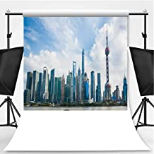 Beautiful Shanghai Pudong Skyline at Dusk Photography Backdrop,074769 for Television,Pictorial Cloth:5x7ft