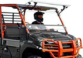 SuperATV Heavy Duty Scratch Resistant 3-in-1 Flip Windshield for Kawasaki Mule Pro FXT / FX / DXT / DX (2015+) - Can be Set to Vented, Closed, or Open - Easy to Install!