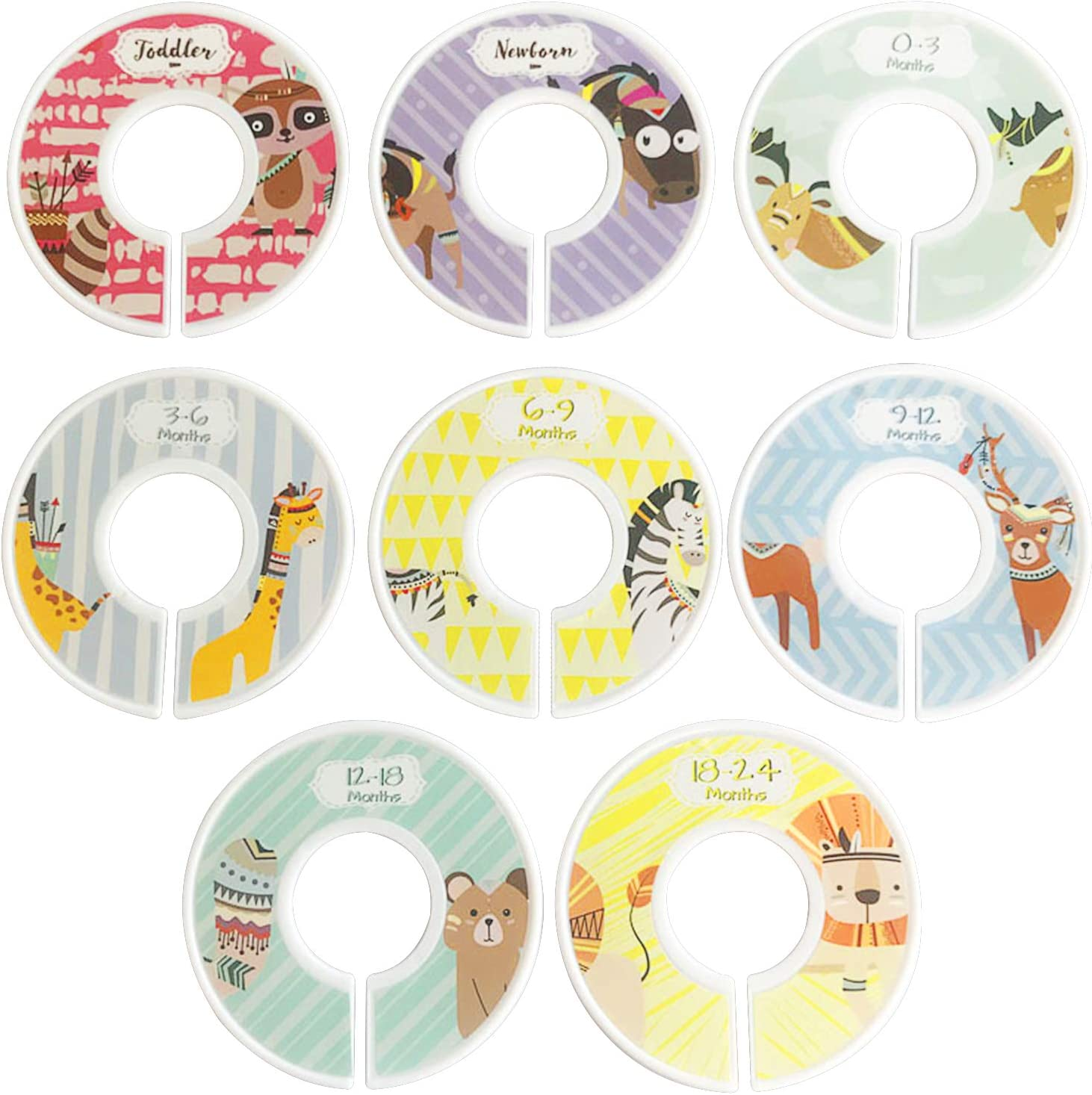 Baby Closet Size Dividers,8 Pieces Nursery Closet Dividers for Baby Clothes,Cute Animal Nursery Decoration Closet Size Dividers for Boy or Girl