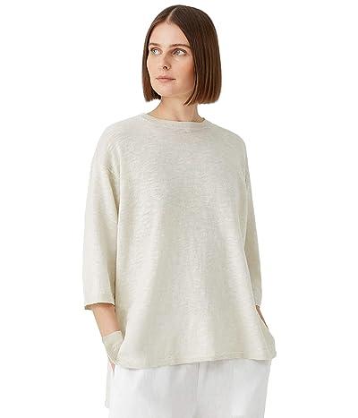 Eileen Fisher Crew Neck Tunic with 3/4 Sleeve in Organic Cotton Linen Slub