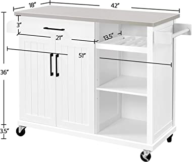 Yaheetech Kitchen Cart with Stainless Steel Top, Kitchen Island on Wheels with Drawer and Cabinet, Open Shelves and Spice Rac
