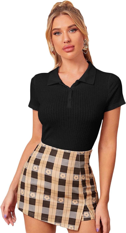 Verdusa Women's Button Front Polo Collar Short Sleeve Ribbed T Shirt