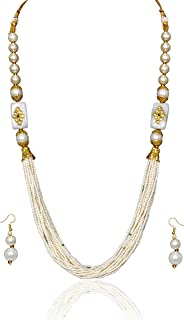 Sansar India Multilayer Rajasthani Indian Jewelry Necklace Earrings Set for Girls and Women