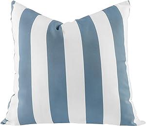 famibay Decorative Outdoor Pillow Waterproof Throw Pillows 18x18 Durable Polyester Patio Garden Cushion Weather Resistant for Rain Snow Sun (Stripe) (1, Gray & White)