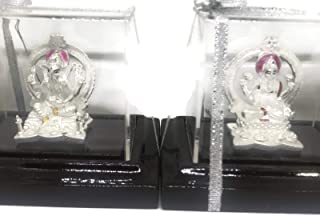 Balaji LLC Ganesh & Lakshmi/Laxmi Pure Silver (99.5%) Idol/Statue/Murti with Separate Stand (Figurine# 03)