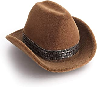 FM FM42 Brown Velvet Cowboy Hat Shape Ring Box Jewelry Display Storage Case JB1001