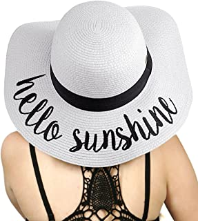 Women's Paper Weaved Crushable Beach Embroidered Quote Floppy Brim Sun Hat