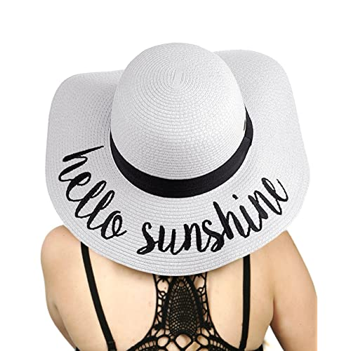 C.C Women s Paper Weaved Crushable Beach Embroidered Quote Floppy Brim Sun  Hat f8e709a428d1