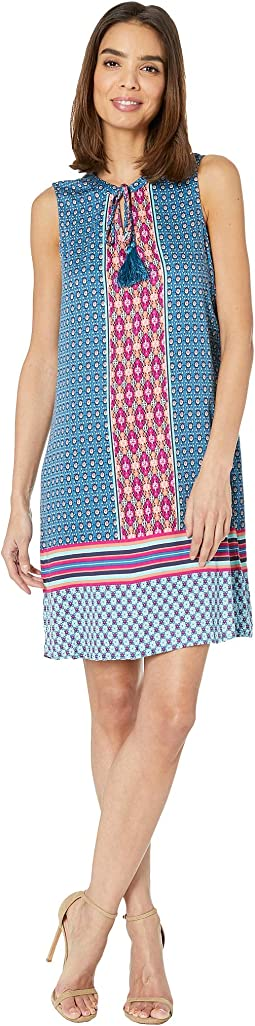 Printed Stretch Challis Sleeveless V-Neck Dress with Tassel