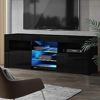 Artiss 160cm Length TV Cabinet   LED Wooden Entertainment Unit   Black