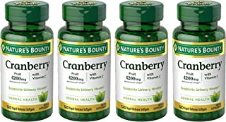 Nature's Bounty Cranberry Fruit 4200 mg, Plus Vitamin C, 120 Softgels (Pack of 4)