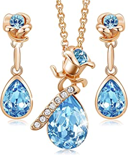 KKX Flower Jewelry Set for Women, 18K Rose Gold Plated Necklace Earrings Set Embellished with Crystals from Swarovski