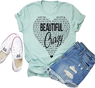 Beautiful Crazy Shirt for Women Funny Country Music Tee Heart Graphic Short Sleeve Top
