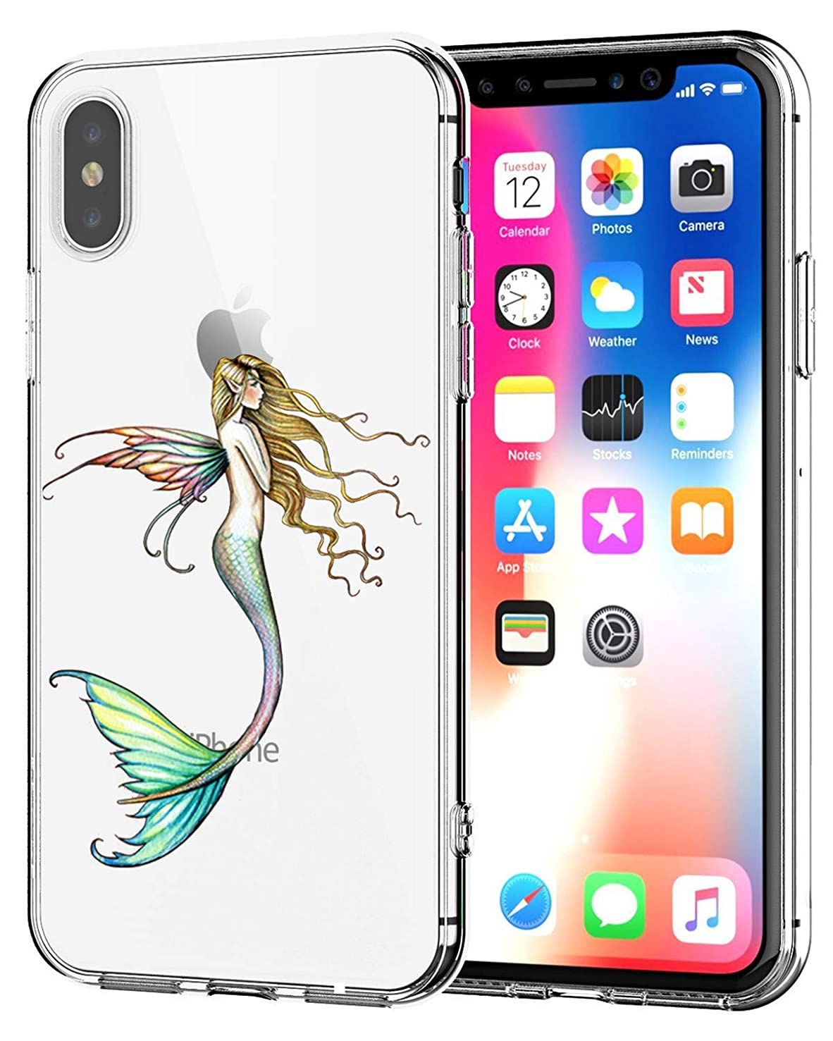 Matop Compatible for iPhone XR Case, Clear Ultra Thin Design Soft TPU Shockproof Protective Slim Bumper Shock Absorption Pattern Shell Cover Frog Compatible with iPhone XR (Mermaid)