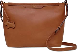 Womens Patcham Leather Pebbled Crossbody Handbag Brown Medium