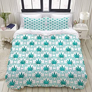 """Mokale Bedding Duvet Cover 3 Piece Set - Teal and White Marijuana Cannabis Tile Pattern - Decorative Hotel Dorm Comforter Cover with 2 Pollow Shams - King 104""""x90"""""""