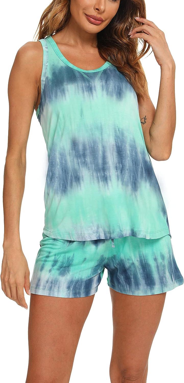 TIKTIK Women Bamboo Viscose Sleeveless Racerback Pajamas Short Set Pajamas Petite Plus Size S-4XL