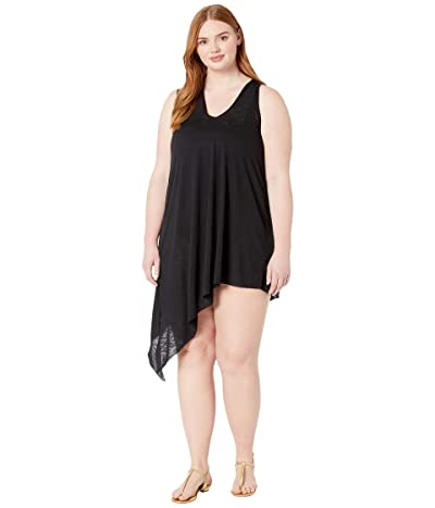 BECCA by Rebecca Virtue Plus Size Breezy Basics Twist Back Dress Cover-Up (Black) Women