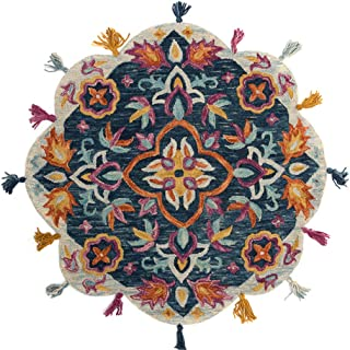 Fringe Tassel Macrame Area Round Rug, Pastoral Style Garden Pure Wool Handmade Woven Blanket, Multifunction Plush Lace Carpet For Living Decoration And Bedroom Mat,JYlS/503,Round1.5m/5'
