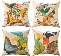 sykting Butterfly Pillow Covers Decorative Cushion Covers Sofa Pillowcase 18x 18 Set of 4 Spring Flower Series