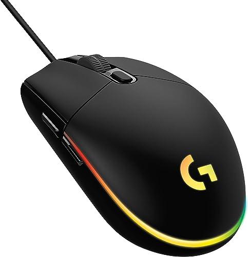 Mouse Gamer Logitech G203 LIGHTSYNC RGB, Efeito de Ondas de Cores, 6 Botões Programáveis e Até 8.000 DPI - Preto